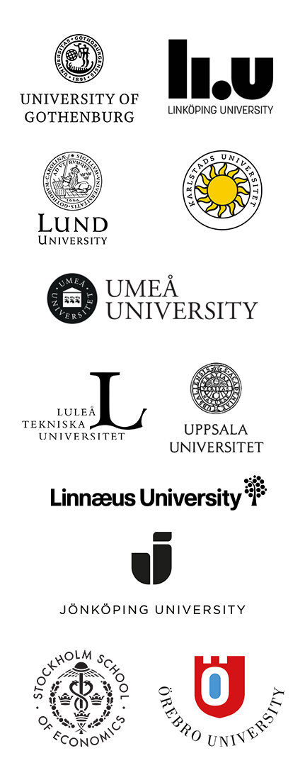 Chalmers University of Technology, Linköping University, Lund University, Stockholm University, Umeå University, University of Gothenburg, Uppsala University
