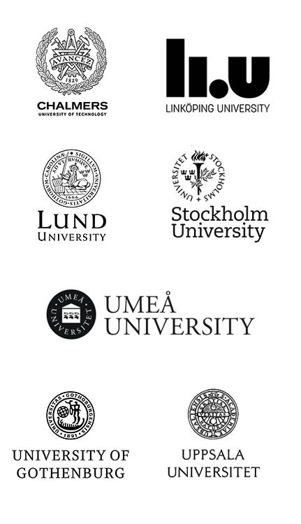 Chalmers University of Technology, Linköping University, Lund University, Stockholm University, Umeå University, University of Gothenburg, Uppsala University