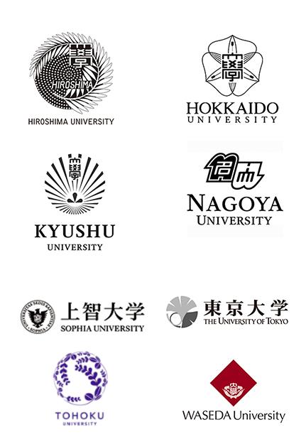 Nagoya University, Hiroshima University, Hokkaido University, Sophia University, Kyushu University, The University of Tokyo, Tohoku University, Waseda University